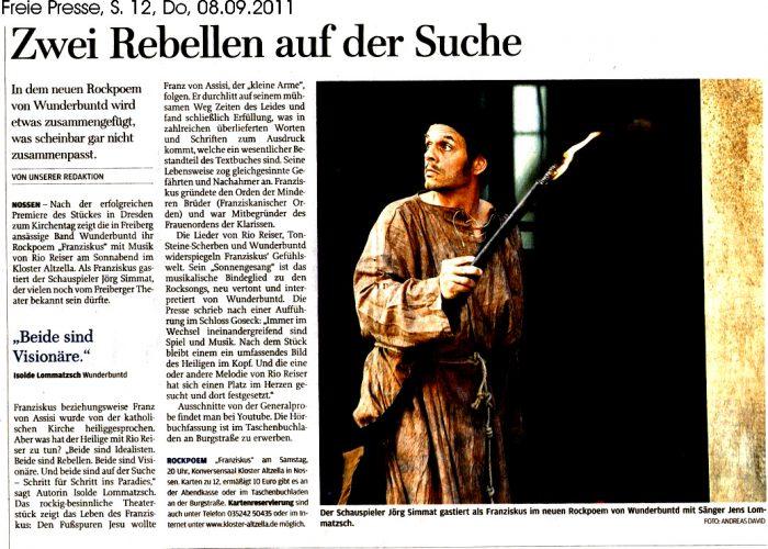 Freie Presse vom 08.09.2011